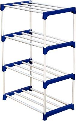 CMerchants 4-L MATEL COLLAPSIBLE-SHOE-STAND Metal, Plastic Collapsible Shoe Stand(Blue, 4 Shelves)