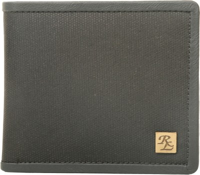Walletsnbags Men Black Canvas, Genuine Leather Wallet 5 Card Slots