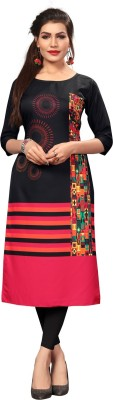 New Ethnic 4 You Women Printed Straight Kurta(Multicolor)