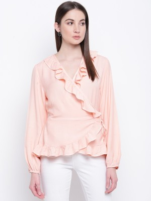 Mayra Party Full Sleeve Solid Women Pink Top