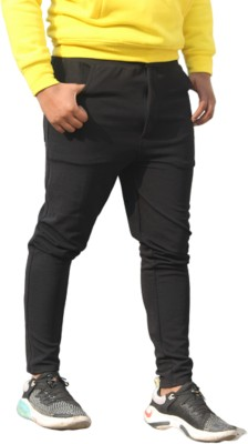 INWIXA Self Design Men Black Track Pants