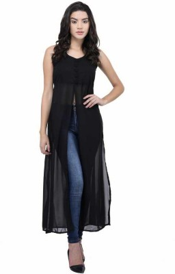 4METIK STYLE Casual Sleeveless Solid Women Black Top