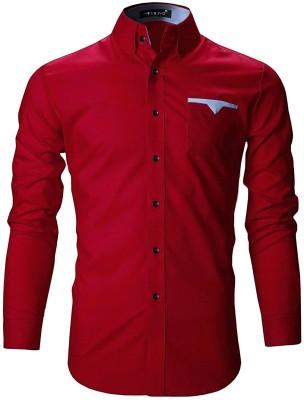 FINIVO FASHION Men Solid Casual Red Shirt