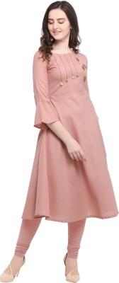 kaival fashion Women Self Design A-line Kurta(Pink)