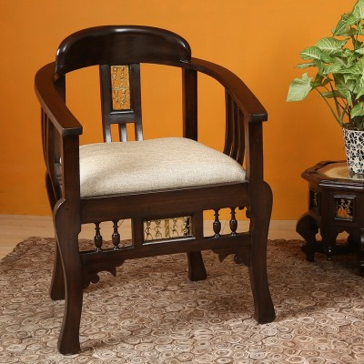 AAKRITI ART CREATIONS Maharaja Chair Solid Wood Living Room Chair(Finish Color - Brown)