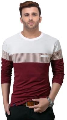 Azy Fabrics Color Block Men Round Neck White, Maroon T-Shirt