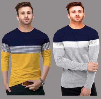 FastColors Solid Men Round Neck White, Blue, Yellow T-Shirt(Pack of 2)