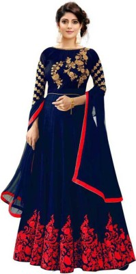 Active Satin Embroidered Gown/Anarkali Kurta & Bottom Material(Semi Stitched)