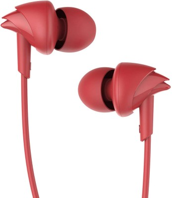 boAt BassHeads 100 Wired Headset(Furious Red, Wired in the ear)