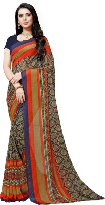 Anand Sarees Paisley, Striped Daily Wear Georgette Saree(Blue)