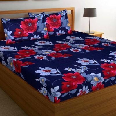 yatin fab 155 TC Polycotton Double Printed Bedsheet(Pack of 1, blue sawera)