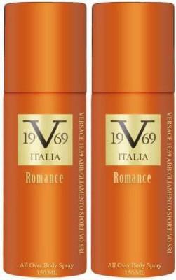 v 19.69 italia TWO ROMANCE Body Spray  -  For Men & Women(300 ml, Pack of 2)