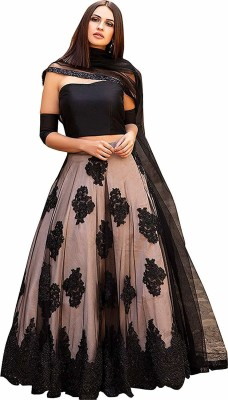 Piludi Embellished Semi Stitched Lehenga Choli(Black)