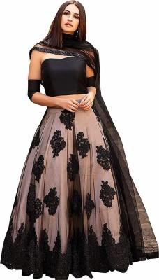 PILUDI Embellished Semi Stitched Lehenga Choli(Black)