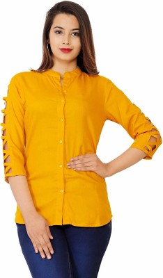 silkova Casual Cutout Sleeve Solid Women Yellow Top