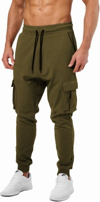 JUGULAR Solid Men Dark Green Track Pants