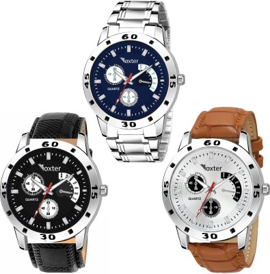 FOXTER Combo Of 3 Round Dial Leather And Steel Strap Stylish Analog Watch - For Men