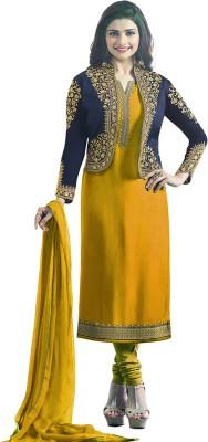 Bipolar Life Satin Embroidered Salwar Suit Material Semi Stitched
