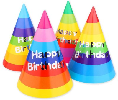 tirupaticollection Rainbow style Happy birthday party cap(Multicolor, Pack of 5)
