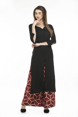 NIBHZ Women Solid Frontslit Kurta(Black)