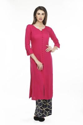 NIBHZ Women Solid Straight Kurta(Pink)