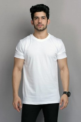 BELTLY Solid Men Round Neck White T-Shirt