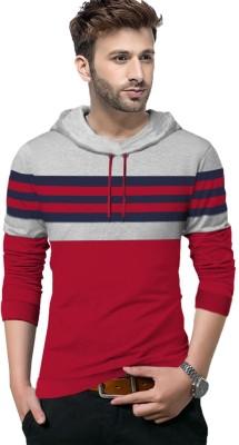 Tripr Striped Men Hooded Neck Red, Grey, Dark Blue T-Shirt