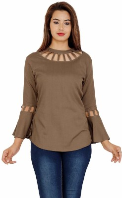 ANSHU FASHIONS Casual Full Sleeve Solid Women Brown Top
