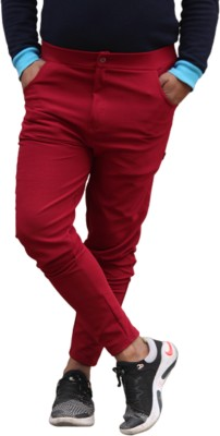 IAC Solid Men Red Track Pants