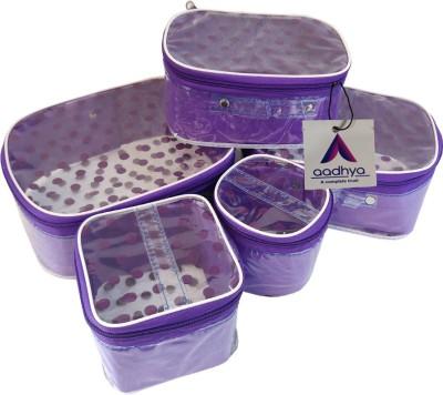 Aadhya POLKA DOT 5 KIT COSMETICS STORAGE MAKEUP BINDI Makeup Organizer Vanity Box(Purple)