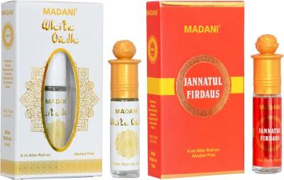 Madani White Oud And Jannatul Firdaus (2Pcs Of 6ml) Herbal Attar(Jannat ul Firdaus, Oud (agarwood), Floral, Islamic Bakhur)