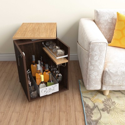 Studio Kook Engineered Wood Bar Cabinet(Finish Color - Junglewood)