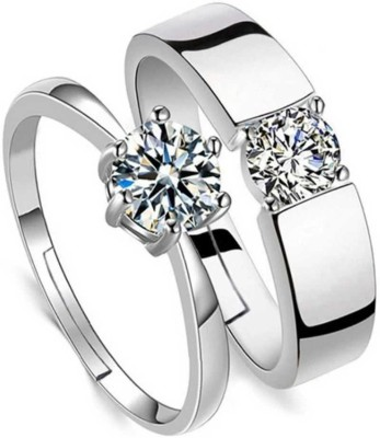 rsp unique Adjustable Couple Ring for lovers in silver stylish king Queen design Alloy Crystal Sterling Silver Plated Ring