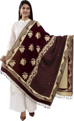 TWIN FEET Wool Printed, Embellished Women Shawl(Brown)