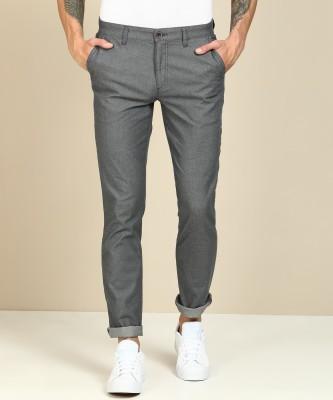 John Players Slim Fit Men Grey Trousers