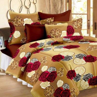 DECORUM 160 TC Polycotton Double Floral Bedsheet(Pack of 1, Brown)