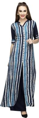 NIBHZ Women Striped, Checkered, Solid A-line Kurta(Blue)