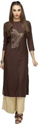 NIBHZ Women Embroidered Straight Kurta(Brown)