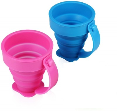 Right Traders Portable Water Silicone Cup   Folding Gargle Cup   Pocket Friendly   Useful For Outdoor Travel, Hiking, Camping...
