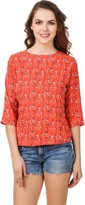 Delux Look Casual 3/4 Sleeve Printed Women Orange Top