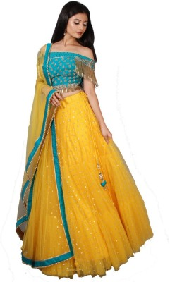 kush fashion Embroidered Semi Stitched Lehenga Choli(Yellow)
