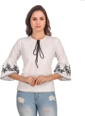 URBAN STYLOO Party Bell Sleeve Embroidered Women White Top