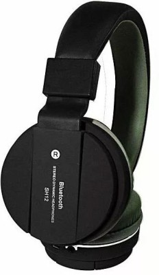 KLUZIE SH-12 Headphone with Deep Bass Sound Support FM and SD Card Slot Bluetooth Headset(Black, Wireless over the head)