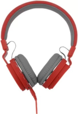 KLUZIE Stereo Sound Rich Bass SH12 Headphone Bluetooth Headset(Red, Wireless over the head)