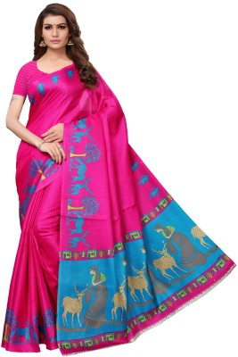 MISILY Self Design Kalamkari Cotton Blend, Poly Silk Saree(Pink)