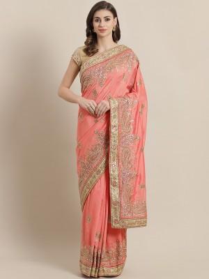 Chhabra 555 Embroidered Fashion Silk Blend Saree(Pink)