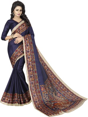 MISILY Printed Daily Wear Art Silk Saree(Dark Blue)