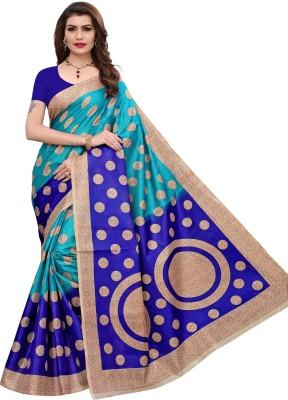 Yashika Polka Print Bhagalpuri Cotton Blend Saree(Blue)