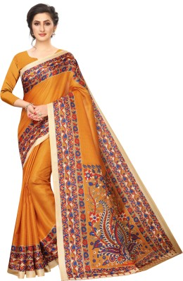 MISILY Printed Fashion Art Silk Saree(Mustard)