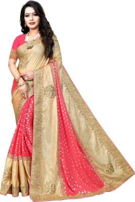Krishna R fashion Embellished Fashion Jacquard, Art Silk Saree(Gold, Pink)